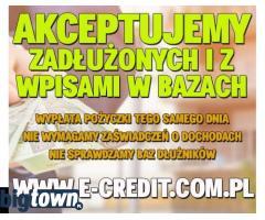 Akceptujemy zadłużonych i z wpisami w bazach. Pożyczymy Ci.